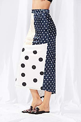 Faldas Moda Ocasional Falda Impresión Mujer Verano Maxi Asimetricos Blanco Clásico Lunares Elegantes Ropa Plisada wvqgTFx
