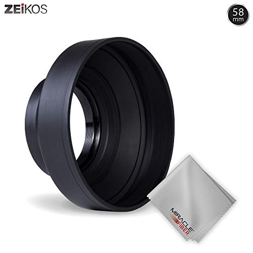 Zeikos 58mm Deluxe Collapsible Rubber Lens Hood w/3 Stages, includes Miracle Fiber Microfiber Cloth, For CANON Rebel T5i T4i T3i T2i T1i XT XTi XSi SL1, CANON EOS 700D 650D  550D 500D 450D 350D 300D 1100D 100D 60D