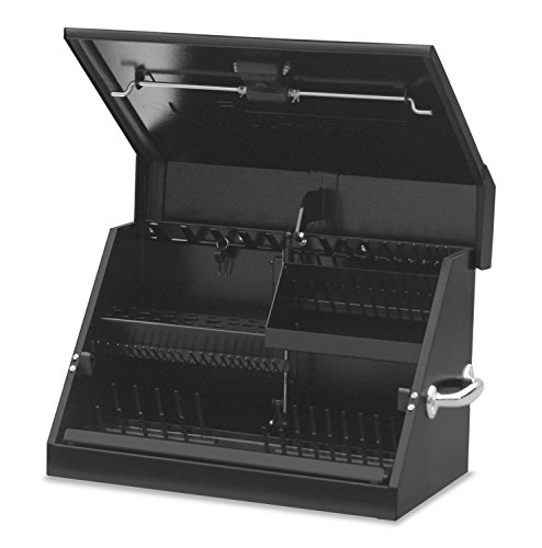 Montezuma - SM200B - 22.5-Inch Portable TRIANGLE Toolbox - Heavy-Duty Steel Construction - Metric and SAE Storage Chest - Weather-Resistant Toolbox - Lock and Latching System ()