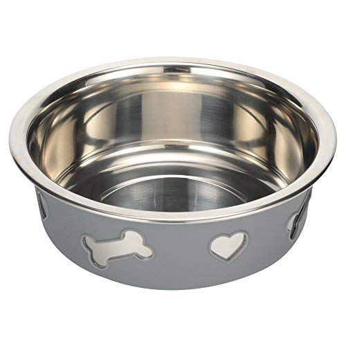 Pampering Dual-Purpose Stainless Steel Bowl Dish PM1202003(2017, for Cat Dog Animal Pet Feeding Dinner Watering,Include 55 Ounces Bowl and Non Slip Silicone Case,Easy Clean. (8.25x6x2.75) from Pampering