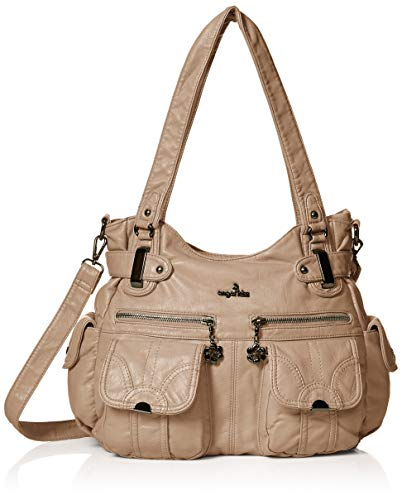 Angelkiss Women's Designer Handbag Large Double Zipper Multi Pocket Washed, ()