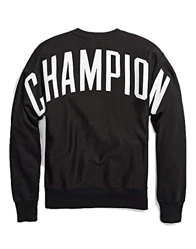 CHAMPION Unisex Crew Neck Back Logo Sweatshirt -BLACK_XS
