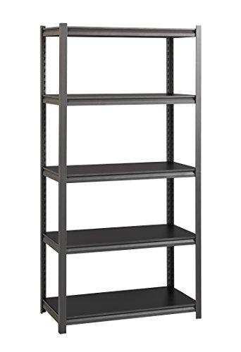Black Posts Gunmetal (Space Solutions 21699 5-shelves Rivet Shelving Unit, 72 X 36 x 18-Inch, Gunmetal Gray)
