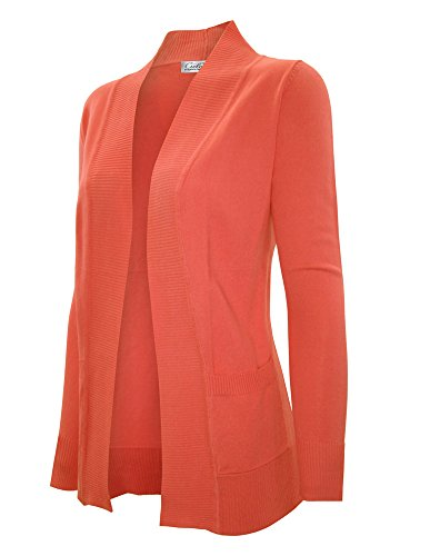 CIELO Women's Solid Basic Open Front Pockets Knit Sweater Cardigan Orange S