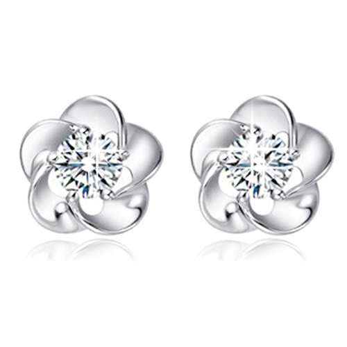 Binmer(TM)New Fashion 925 Sterling Silver Rose Flower Shaped Austrian Crystal Stud Earrings for Women Ladies Gift (White)