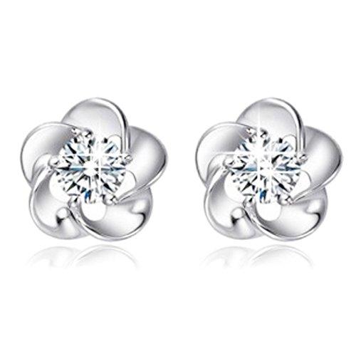 Binmer(TM) Silver Plated Rose Flower Shaped Crystal Stud Earrings For Women Ladies Gift