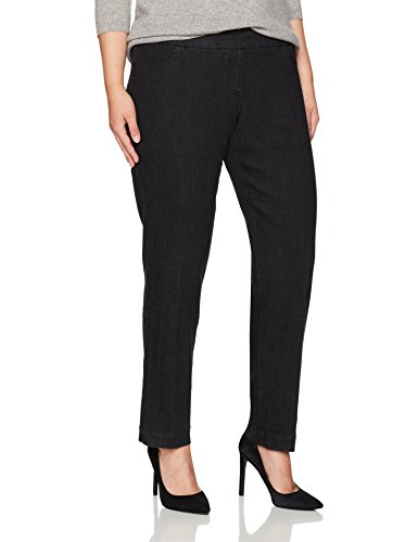 SLIM-SATION Women's Plus-Size Wide Band Pull-on Straight Leg Pant with Tummy Control, Black Denim, 20W