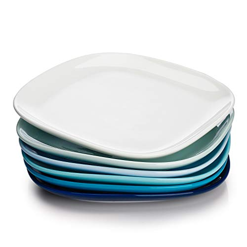 Sweese 152.003 Porcelain Square Dinner Plates - 10 Inch - Set of 6, Cool Assorted Colors (Inch Plate Set 10 Dinner)