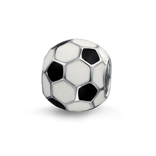 Bling Jewelry Soccer Ball Charm 925 Sterling Silver European Football Sports Bead - Football Charm Sterling Silver Jewelry