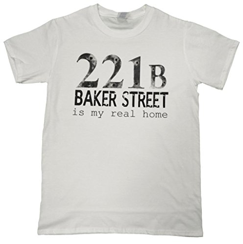 21 Century Clothing Men's 221B Baker Street Is My Real Home,Sherlock T-Shirt X-Large (46-48 inches) White