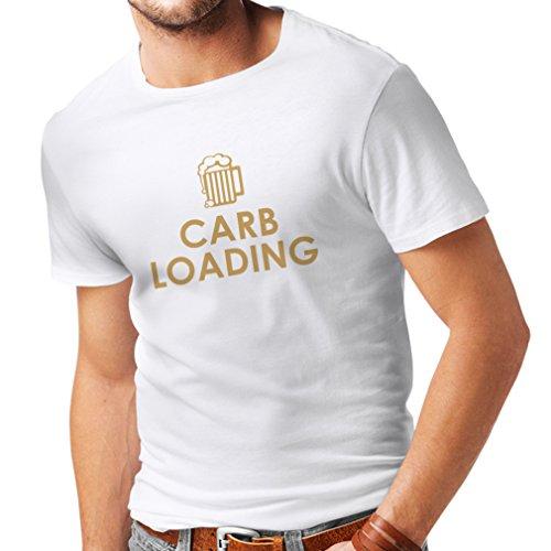 lepni.me Camisetas Hombre Carb Loading - Citas Divertidas de Fitness, Ropa de Entrenamiento (XXXXX-Large Blanco Oro)