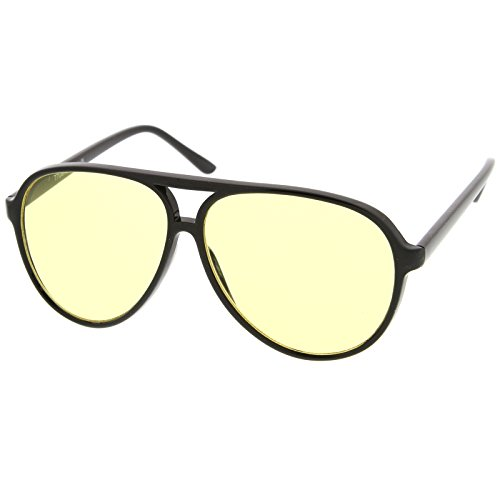 zeroUV - Retro Large Plastic Aviator Sunglasses with Yellow Blue Blocking Driving Lens ()