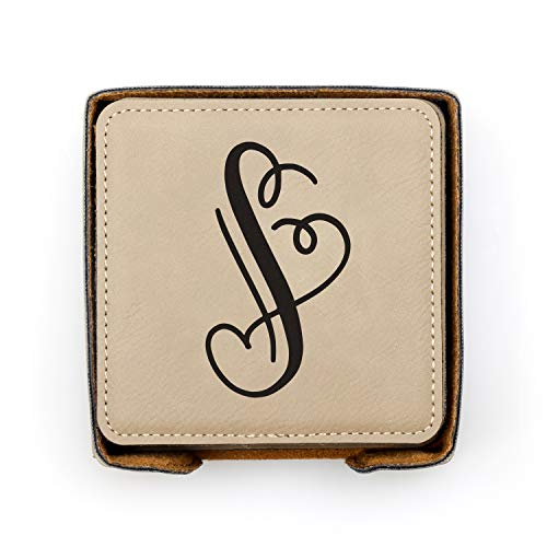 (Personalized Drink Coaster Set of 6 w/Holder - Custom Engraved Drink Coasters - Personalized Gift (7 designs, 7 Colors))