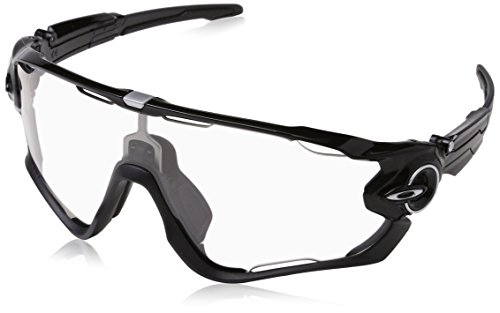 Oakley Men's OO9290 Jawbreaker Shield Sunglasses, Polished Black/Clear To Black Photochromic, 31 ()
