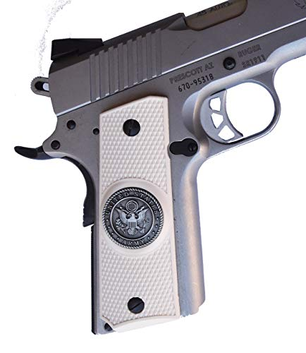 (Garrison Grip 1911 Colt Full Size and Clones with US Army Medallion Set in Light Ivory Polymer Grips)