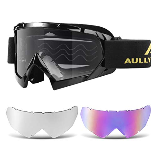 (AULLY PARK Motorcycle Goggles, Dirt Bike Goggles Grip For Helmet, ATV Motocross Mx Goggles Glasses with 3 Lens Kit Fit for Men Women Youth Kids )