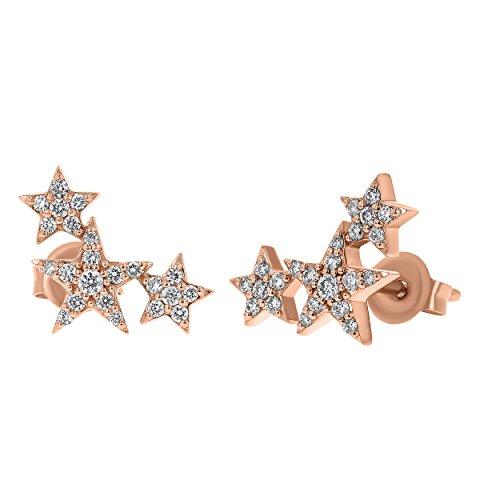 Olivia Paris 14K Rose Gold Three Star Stud Climber Earrings (1/4 cttw, H-I, I1)