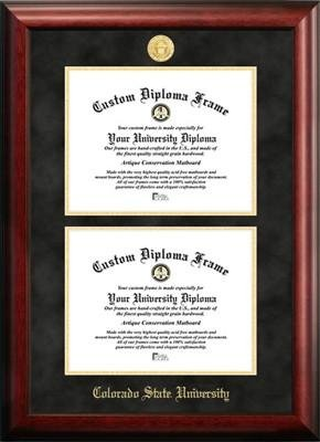 Colorado State University Double Degree Diploma Frame