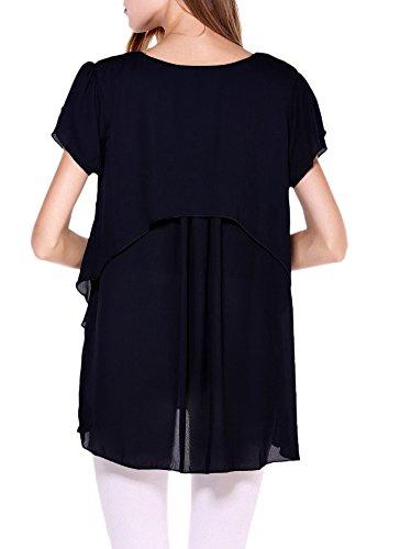 Afibi Women's Loose Casual Short Sleeve Chiffon Top T-Shirt Blouse (X-Large, Black)