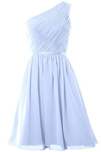 MACloth Women One Shoulder Chiffon Short Bridesmaid Dress Wedding Party Gown (24w, Sky Blue)