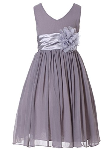 - Bow Dream Flower Girl Dress Junior Bridesmaids V-Neckline Chiffon Grey 2