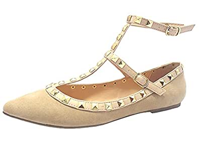 Wild Diva Women's Studded Pointed Toe Strappy Ankle Wrap Flats (6.5 B(M) US, Natural Suede)