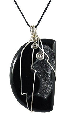 - Kit Johnson Designs Onyx Pendant, Drusy, Wire Wrap, 2 5/8