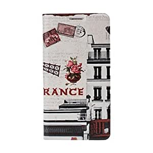 France Windmill Post Card Pattern Full Body Leather Case with Stand for Samsung Galaxy S5 i9600