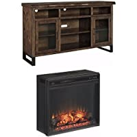 Ashley Furniture Signature Design - Esmarina TV Stand with Traditional Log Fireplace Unit Included - Walnut Brown