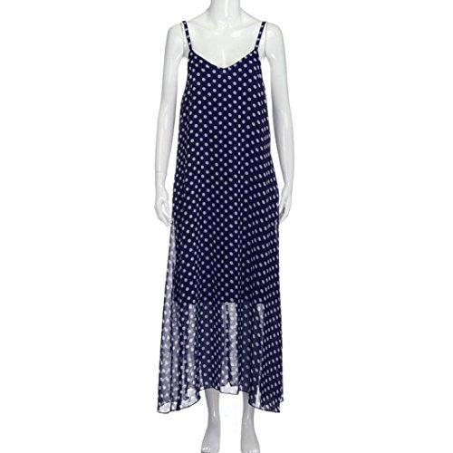 Ouneed Las mujeres impresas de gasa bohemia larga fiesta de playa vestido con bolsillo Azul