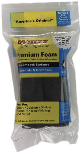 Work Tools International 54060 4-Inch Whizz Premium Foam Paint Roller Cover, Black, 2-Pack