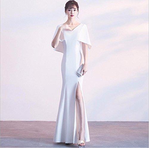 WBXAZL Vestido Elegante, Elegante Cena, Vestido de Noche Negro, V, Slim, Fishtail Anfitrión, Vestido. Blanco