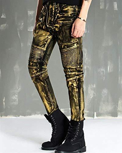 A Oro Pantaloni In Jeans Abbigliamento Denim Dritta Stretch Gamba Vintage Moda Regular Uomo Slim Da Fit P6qPwZ8ax