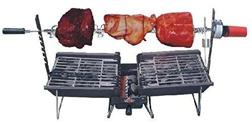 achi Grill/Griddle Combo with Snuff-Out Pouch and Rotisserie (Self Cleaning Bbq)