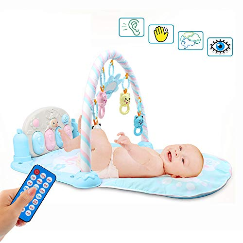(Kick and Play Piano,2 in 1 Baby Gym Mat with 4 Rattle Toys and Mirror,ABS Remote Control Fisher Infant Mats - Activity Toy,Lay and Play,Sit and Play,for Newborn Girl,Babies, 1-36 Months (Blue))