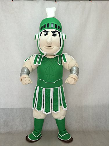 rushopn Adorable Spartan Trojan Knight Sparty Mascot Costume with Green Armour -