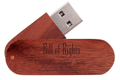 16 Gigabyte USB Flash Drive Mahogany NDZ Bill of Rights Scri