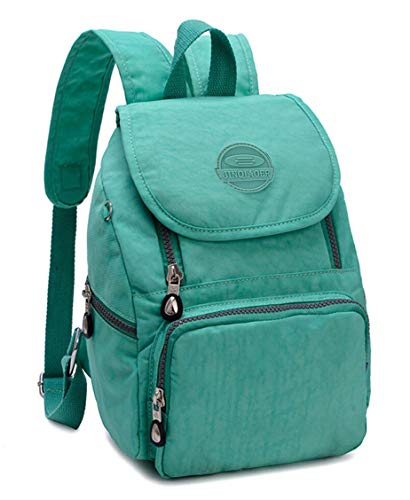 Mini Water-resistant Nylon Backpack for Women Girls Small Backpack Purse Lightweight Travel Daypack for Hiking Sports Outdoor Diseny Disenyland (Solid Green)