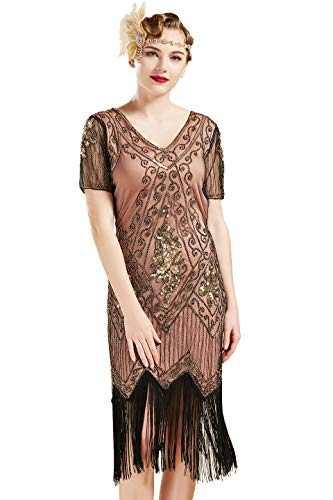 20s Costumes Cheap - BABEYOND 1920s Art Deco Fringed Sequin