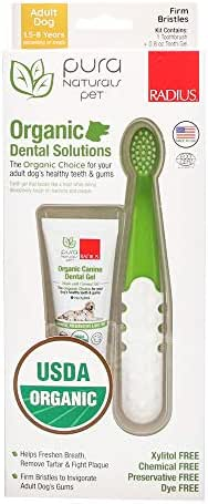 Pura Naturals Pet - Organic Dental Solutions Adult, Natural Dog Toothgel and Toothbrush, No Harsh Ingredients, Eco-Friendly (One Size Brush & 0.8 Ounce Gel)