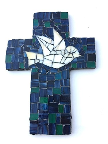 Dove Cross Stained Glass (9 inch X 6 inch Handcrafted Mosaic Dove Wall Cross, Ivory, Green and Blue stained glass with charcoal colored)
