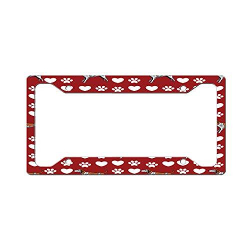 Style In Print Custom License Plate Frame English Coonhound Dog Red Aluminum Cute Car Accessories Wide Top Design Only Set of 2