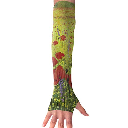 Red-Christ Colorful Field With Poppies Arm Sleeves UV Cooling Sleeves Arm Cover Sun-Protection Men Women Youth