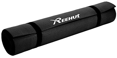 Reehut 1/4-Inch High Density - Exercise Yoga Mat with Carrying Strap for Fitness & Workout (Black) (Male Power Super Sock compare prices)