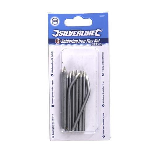 Silverline 196507 Jeu de 10 pannes de fer à souder 15 et 25 W