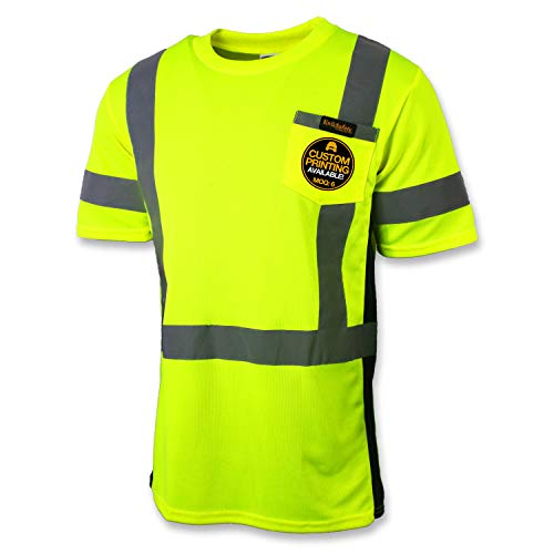 (KwikSafety (Charlotte, NC) INSTALLER (Crew Neck SOLID Tape) Class 2 ANSI High Visibility Safety Shirt with Pocket Reflective Tape Construction Security HiVis Clothing Men Short Sleeve Yellow XL )