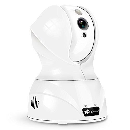 Caméra IP 720p Caméra de Surveillance EC Technology Caméra de Sécurité Babyphone en WiFi sans Fil Avec Microphones Bidirectionnels, Vision de Nuit par PIR, Détection de Mouvement, Moniteur Vidéo, Alerte d'information - Blanc