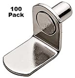 One-Hundred (100) 1/4'' Nickel L-Shaped Shelf Support Bracket