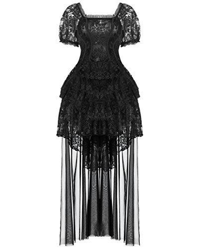 Dark in love Gótico Vestido De Noche Encaje Negro Vintage steampunker Victoriano Boda - Negro,