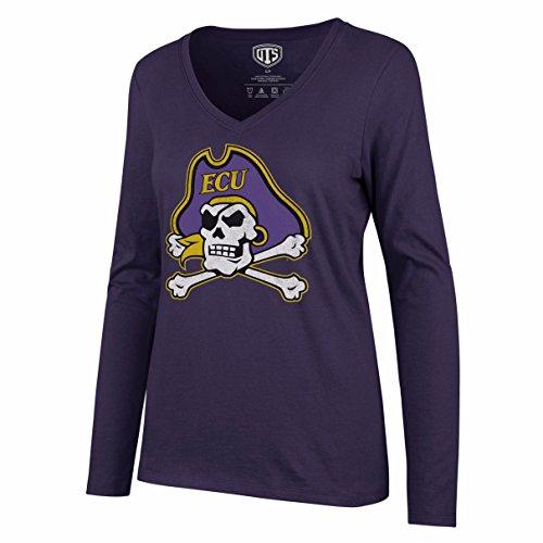 OTS NCAA East Carolina Pirates Women's Rival Long Sleeve Tee, Distressed Logo, ()
